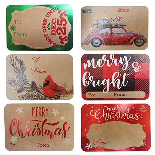 80-Count Foil Kraft Christmas Tags Sticker,8 Jumbo Designs - Xmas to from Christmas Stickers Name Tags Write On Labels - Holiday Present Labels