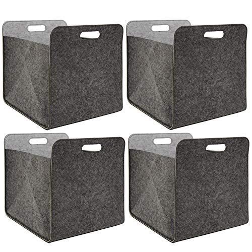 DuneDesign 4er Set Filz Aufbewahrungsbox 33x33x38 cm Kallax Filzkorb Regal Einsatz Box Grau