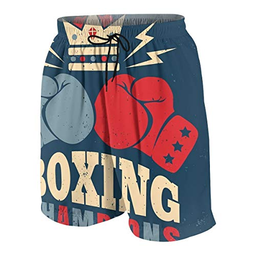 Men's Beach Shorts Vector Vintage Poster for Boxing with Gloves Swim Trunks 4XL