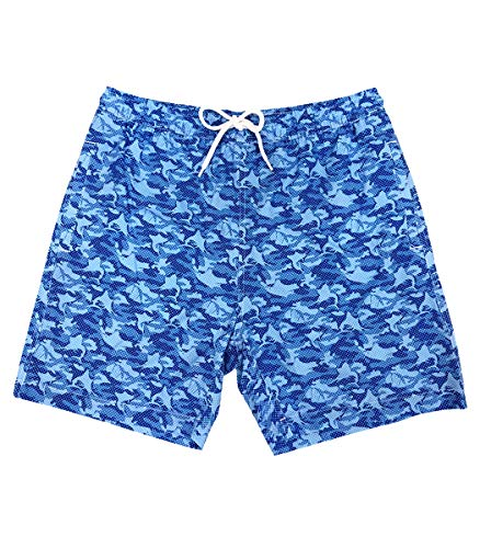 Bluefin USA Offshore Swimming Trunks for Men, Microfiber, Elastic Waistband Board Shorts, 100% Polyester Bathing Suit, Mesh Lining (Camo Blue)