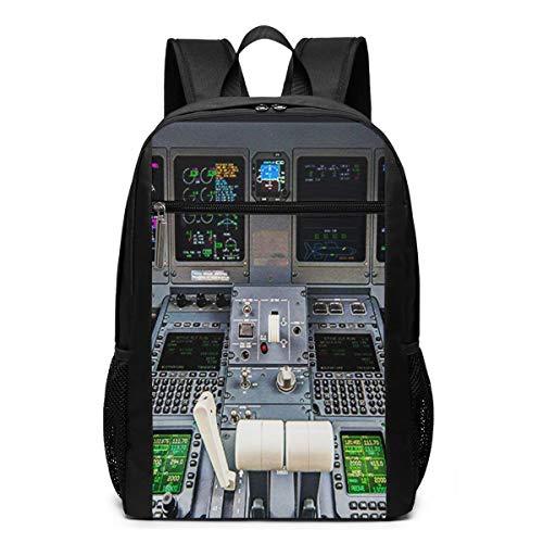 Schulrucksack Flugzeug Cockpit, Schultaschen Teenager Rucksack Schultasche Schulrucksäcke Backpack für Damen Herren Junge Mädchen 15,6 Zoll Notebook