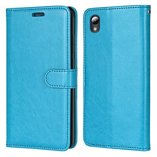 Laybomo Hülle für ZTE Blade L8 / A3 (2019) Ledertasche Simple Stylish Schuzhülle Weiches TPU Silikon Cover Magnetisch Brieftasche Schale Handyhülle ZTE L8 / A3 2019, mit Visitenkartenhüllen (Blau)