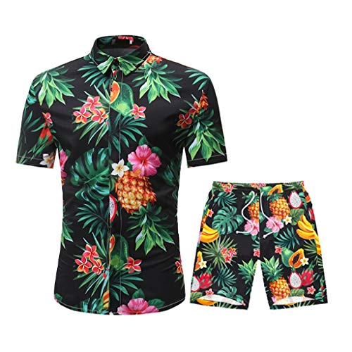 DAY8 Uomo Completo Estivo Elegante Abbigliamento Tuta Uomo Estiva Completa Camicia E Pantaloncini Hawaiana Slim Fit Manica Corta Classica Tute Uomo Sportive Estive Stampa Frutta (Verde, XXL)