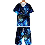 WOONN Pijamas Set Hombre Casual T-Shirt Top Pantalones Cortos Y Mangas Cortas, Traje Corto De 3D Anime Deportes Ocio, Pijama,Camisetas Sao Sword Art Online XXL