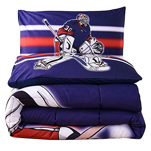 A Nice Night Player Ice Hockey Print Comforter Quilt Set Bedding Sets (Ice Hockey)