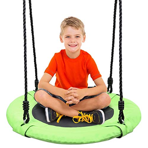 Odoland 24 inch Children Tree Swing SwingSeat Outdoor Saucer Rope Swing Platform Swing for Kid Round Swingset wirh Adjustable Hanging Ropes for Indoor Backyard and Playground Green