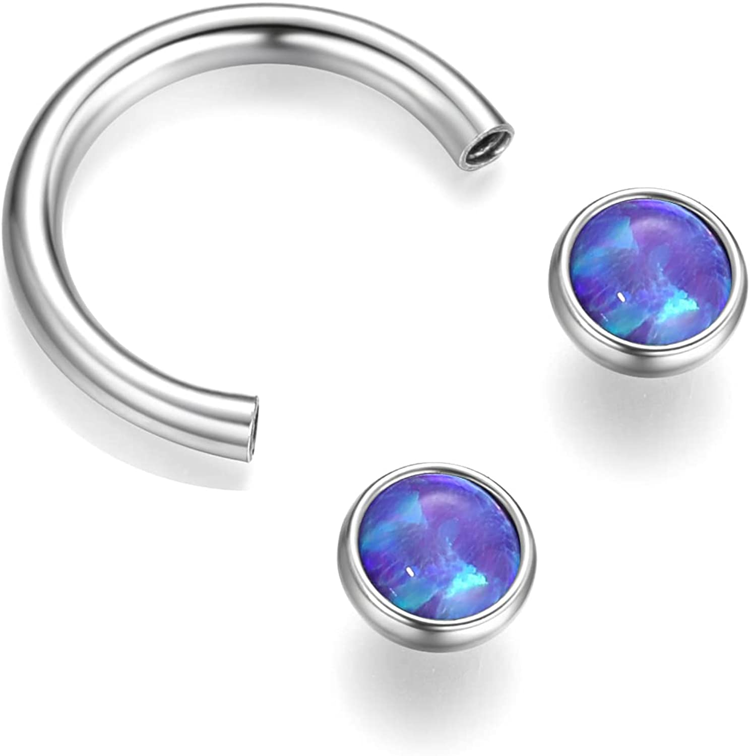Lantine Horseshoe Opal Septum Ring Stainless Steel 16g 8mm Circular Barbell Daith Earring for Nose Cartilage Lip Tragus Helix Piercing