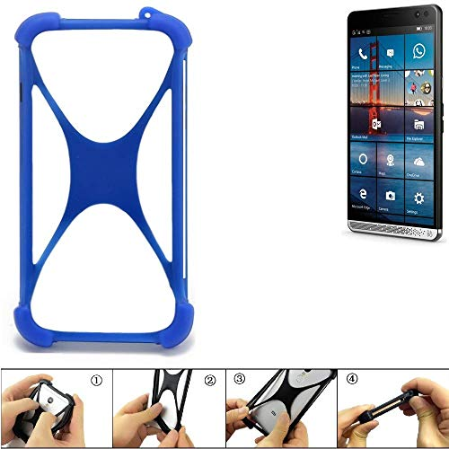 K-S-Trade® Handyhülle Für HP Elite X3 Silikon Schutz Hülle Cover Case Bumper Silikoncase TPU Softcase Schutzhülle Smartphone Stoßschutz, Blau (1x),