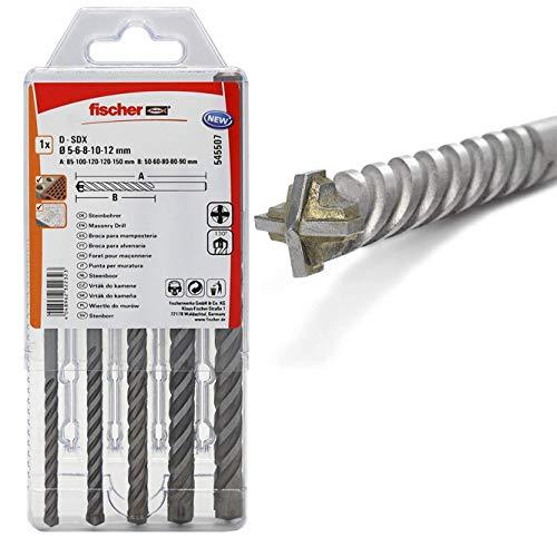 Fischer 545507 Bohrer D-SDX Sizes, 5-12 mm, 4-Cutting Head, Practical Set, 5 Masonry Drill Bits, Grey