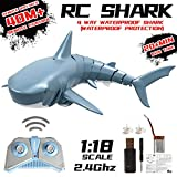 RC Fish Shark Toys Radio Remote Control Electronic Shark Fish Boat 2.4GHz Remote Control Boat RC Shark Toy Fiexibly Electric Racing Shark for Swimming Pool Bathroom Toy Best Gifts for Adults Kids