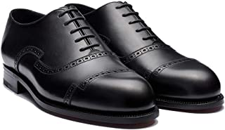 Costoso Italiano Black Leather Formal Lace Up Brogue Oxford Dress Goodyear Welted Shoes for Men