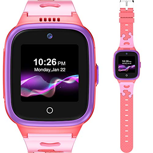 4G Kids Smart Watch with SIM Card - (Age 3 Years +) Boys Girls - GPS Locator SOS Alarm Remote Monitoring 2-Way Face to Face Call Voice & Video Camera Worldwide Coverage - Pink