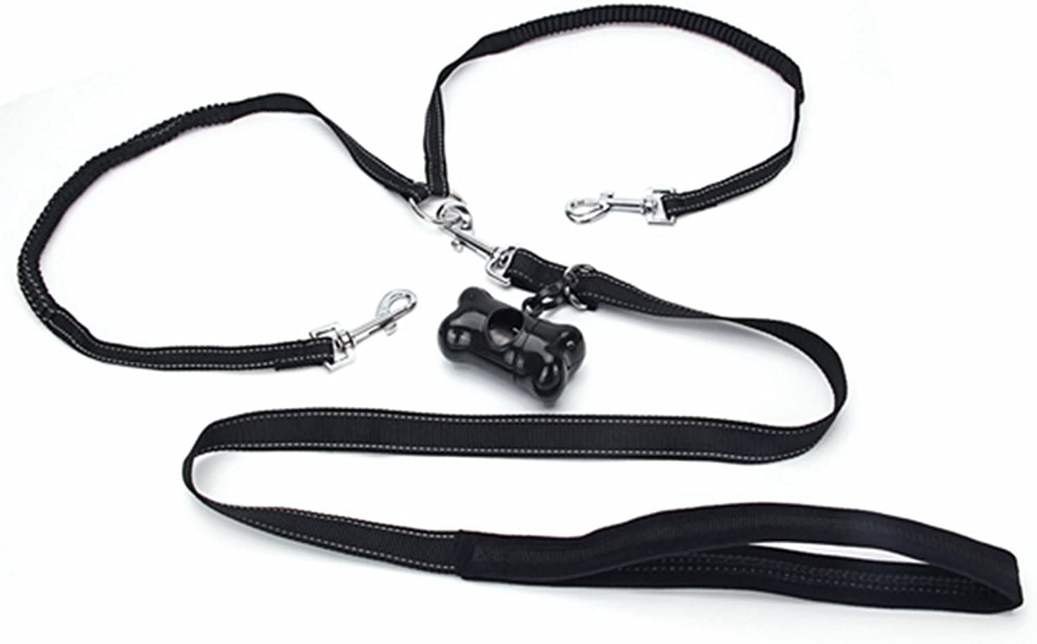 DOHOT 2Way No Tangle Coupler Durable Double Dog Leash with Bags Dispenser for Small Medium Dogs
