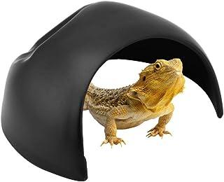 Pssopp 洞窟 爬虫類の隠れ家 隠しシェルター ウエットシェルター 飼育用 テラリウム 湿地洞窟 亀/蛇/トカゲなどに適用 水槽 水族館装飾 爬虫類 両生類 用 乾燥 保湿 爬虫類向けのシェルター(ブラック)