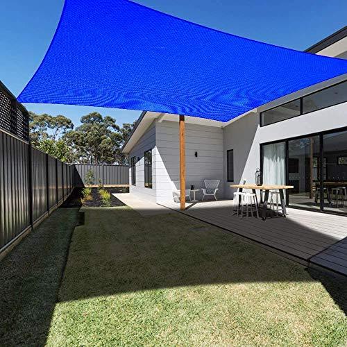 AZUOYI Vela De Sombra Rectangular, Toldo Resistente Y Impermeable, para Exteriores, Jardín, Viene con Un Conjunto Completo De Accesorios De Instalación,Azul,2x4M