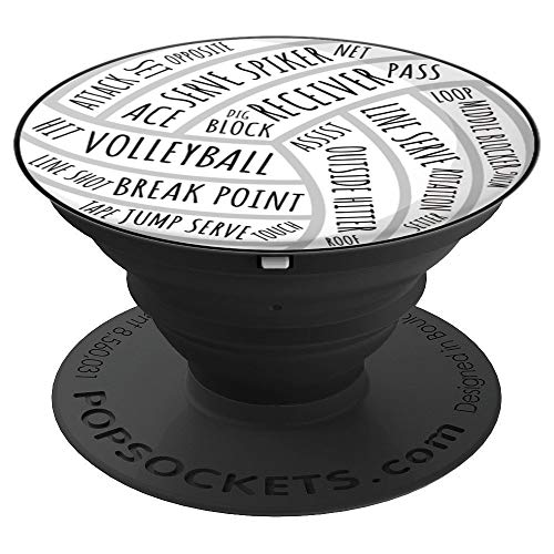 Volleyball Words Volleyball Player Coach Fan Volleyball PopSockets Grip and Stand for Phones and Tablets