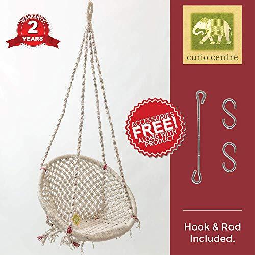 Curio Centre Round Cotton Home Swing & Hammock Chair (145 cm X 57 cm X 43 cm, White)