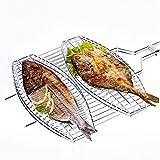 Yiyu Grillroste, Erleichtert Die Das Tragen Doppelter Fisch Grillkorb Antihaft-Grillkorb Abnehmbarer Hochleistungs-Grillkorb Für Fleisch Gemüse Steak x (Color : Silver)