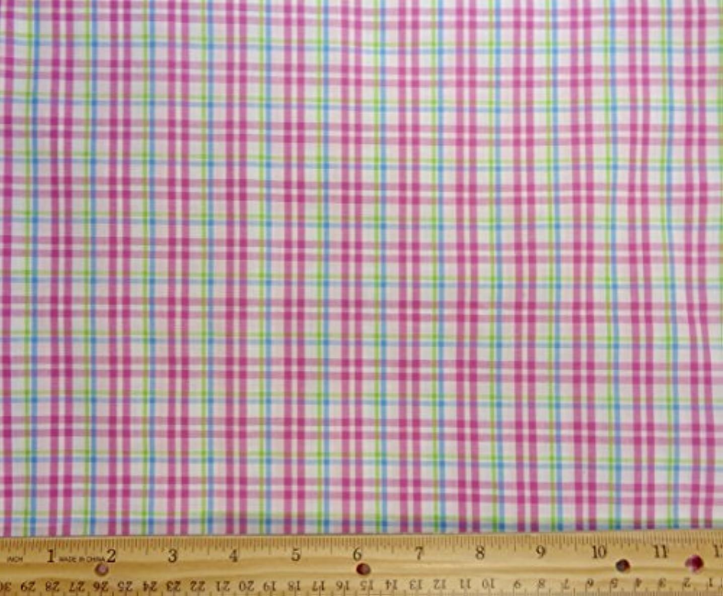 Summerville Plaid Pink Green Teal Cotton Fabric, 56