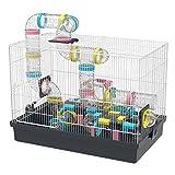 GNB PET Grand Cage à Hamster DIY Habitat 20''x12''x15'' avec Achevé Tube Tunnel Module Jouets pour Gerbille Souris (Noir)