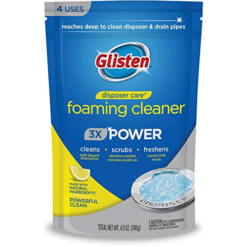 Glisten Disposer Care Cleaner with Foaming Bleach Alternative. Clean and Deodorize Your Garbage Disposal. Fresh Lemon Scent