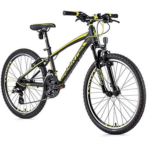 24 Zoll Alu Leader Fox MTB Fahrrad Junge 21 Gang Shimano Jugend Bike grau gelb