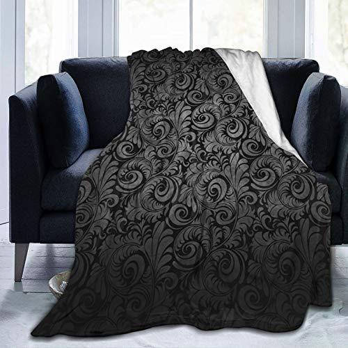 Flores sobre un Fondo Negro Manta de vellón Micro Ultra Suave para sofá o Cama Manta cálida para Todas Las Estaciones Manta de sofá 60 'x 50'