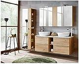 naka24 Juego de muebles de baño Capri-B roble dorado 140 cm con 2 lavabos LED Soft – Close (lavabo, armario con espejo, armario alto)