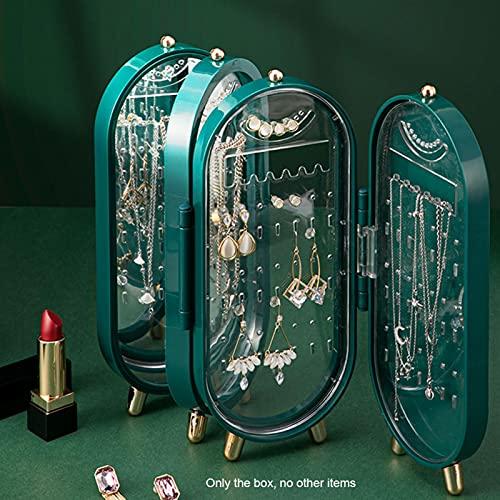 Organizador de joyas con espejo, caja de almacenamiento plegable de 4 capas para pendientes, collares, pulseras, anillos (azul)