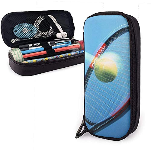 Pu lederen etui, Tennis racket grote capaciteit opslag marker case pen houder, cosmetische make-up zak, briefpapier organisator potlood zak