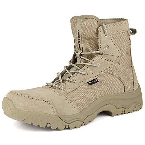 FREE SOLDIER Herren Wanderstiefel leichte Trekkingstiefel Atmungsaktive Military Boots US Army Schuhe für Outdoor Camping Wandern Bergsteigen Wüsten Offroad(45 EU,Sandfarbe)