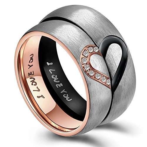 AnazoZ Engagement Rings for Him, 6MM Stainless Steel Rings for Couple Puzzle Heart I Love You Wedding Rings