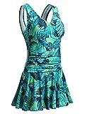 Mujer Bañador con Falda Traje de Baño de Una Pieza de Talla Grande Impresión Elegante Sexy Push Up Monokini Verde M