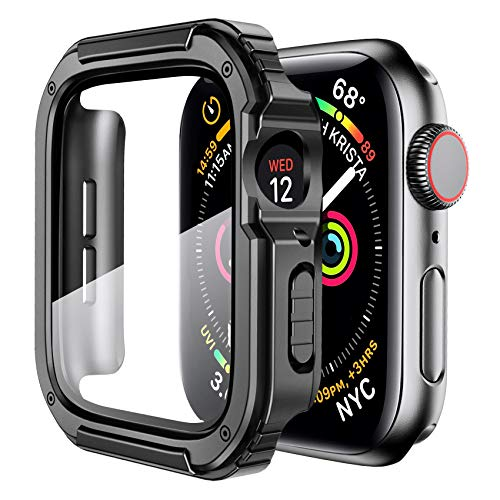Mesime Rugged Case Compatible for Apple Watch Cover with Apple Watch Tempered Glass Screen Protector for 44mm 42mm 40mm 38mm iWatch Series 6 5 4 3 2 1 SE Protective Accessories Hard Case