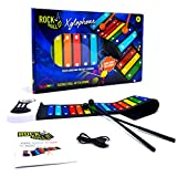 Rock and Roll It – Rainbow Xylophone. Portable & Flexible Standard Size Electronic Pad with 22 Color Coded Bars & Song Booklet. USB or Battery Powered, Built-In Speaker & Audio Output Support.