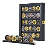 Jinchuan Military Challenge Coin Display Case Lockable Cabinet Rack Holder Shadow Box with Removable 2 Grooves Shelves and Anti Fade Acrylic Glass Door for Casino Poker Chips Collectibles Black