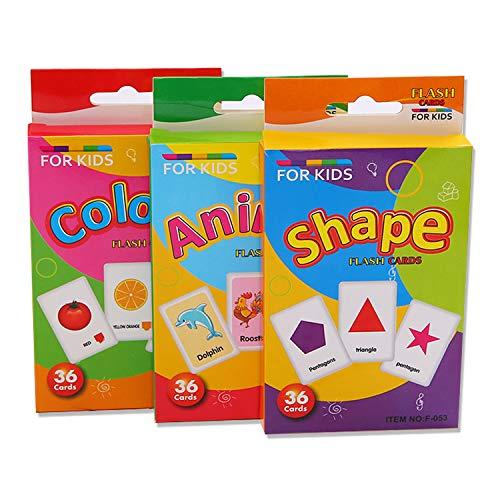 3 Sätze von Lernkarten Form Tier- und Farbkarten für Kleinkinder Kinder Kinder Frühes Lernen