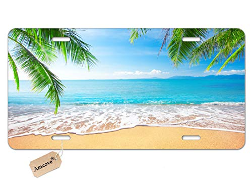 Amcove License Plate Palm Trees with Tropical Ocean Beach Scene Decorative Car Front License Plate,Vanity Tag,Metal Car Plate,Aluminum Novelty License Plate,6 X 12 Inch (4 Holes)