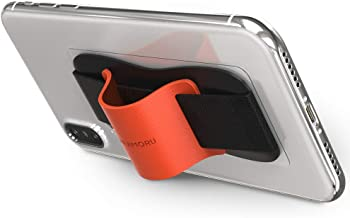 Sinjimoru Phone Grip Stand, Secure Handy Phone Strap for iPhone and Android. Phone Holder with Leather Phone Stand. Sinji Grip, Orange.