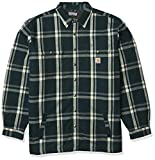 Carhartt Men's Big & Tall Relaxed Fit Flannel Sherpa-Lined Snap-Front Plaid Shirt Jacket, Ink Green, 2X-Large/Tall