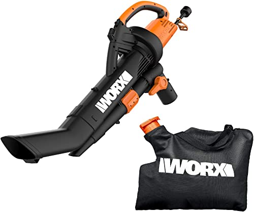 WORX WG509 12 Amp TRIVAC 3-in-1 Electric Leaf Blower with All Metal Mulching System