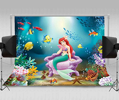 Princess Party Backdrop for Photography MEETSIOY 7x5ft Mystery Mermaid Princess Ocean Theme Backgrounds Girl Birthday Party Decor Banner NANMT921