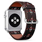 (Firefighter Helmet and Crossed Axes) Patterned Leather Wristband Strap for Apple Watch Series 4/3/2/1 gen,Replacement for iWatch 38mm / 40mm Bands