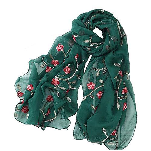 Pluto & Fox Fular De Mujer Bordado Con Flores Bufanda De Seda Diseño Retro Elegante Pañuelo cuello Estola (Verde, 75cm*175cm)