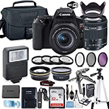 Canon EOS Rebel SL3 DSLR Camera Bundle with Canon EF-S 18-55mm STM Lens + 32GB Sandisk Memory + Camera Case + Digital Flash + Accessory Bundle