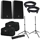 Electro Voice ZLX15P Powered Speakers (2) with Gator Stands & Totes