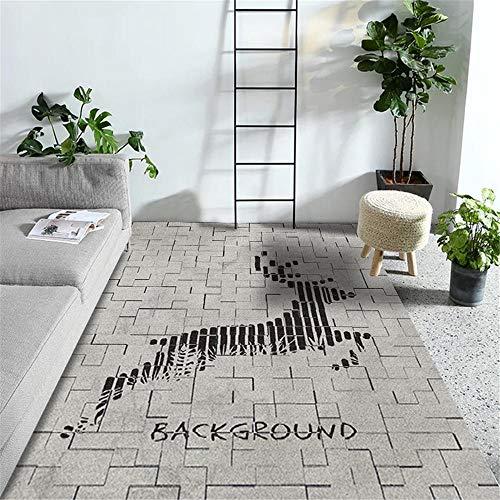 WQ-BBB Salón Alfombra Antiincrustante Decoración de patrón de Reno de Estilo Mosaico Simple Negro Gris Alfombra habitación 80X120cm