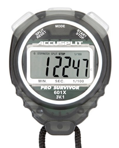 ACCUSPLIT Pro Survivor - A601XBK Stopwatch, Clock, Extra Large Display (Smoke)