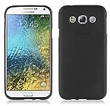 Cadorabo Hülle für Samsung Galaxy E5 2015 (5) - Hülle in SCHWARZ – Handyhülle aus TPU Silikon in gebürsteter Edelstahloptik (Brushed) Silikonhülle Schutzhülle Soft Back Cover Hülle Bumper