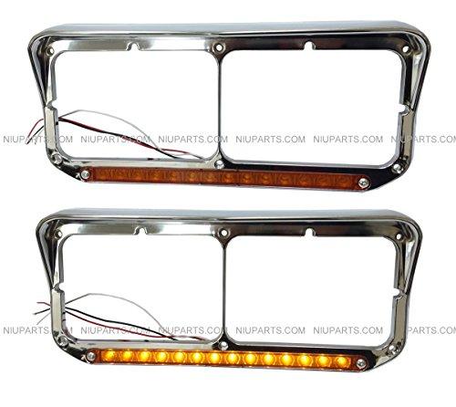 Headlight Bezel with 12 Amber/Amber LED Light Strip Chrome - LH & RH (Fit: Kenworth T400 T600 T800 W900B W900L Classic 120. Peterbilt 378 379. Western Star 4900, Freightliner FLD Classic XL)